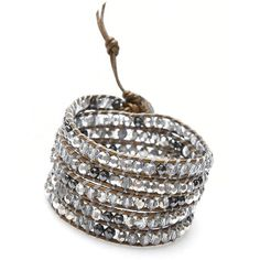 Nakamol Ellora Wrap Bracelet-Clear Mix (£31) ❤ liked on Polyvore featuring jewelry, bracelets, multi, adjustable bangle, clear bracelet, beaded jewelry, pandora bracelet and leather bead bracelet