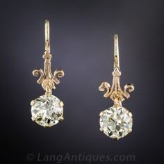 3.50 Carat Diamond Vintage Drop Earrings GIA - What's New