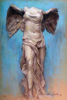 Polina Luchanov, Nike of Samothrace pastel Winged Victory Of Samothrace, A Level Art Sketchbook, Art Alevel, Beautiful Dark Art, Watercolor Architecture, Greek Art, Angel Art, Renaissance Art, Mural Art