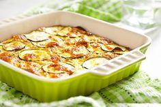 Courgetteschotel met spaghetti, ham en kaas