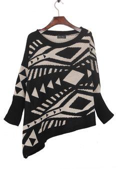 Black Geometric Pattern Batwing Sleeve Irregular Hem Sweater - Sheinside.com