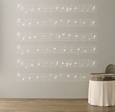 """RH baby&child's You Are My Sunshine Sheet Music Decal:Our peel-and-stick wall decal of Jimmie Davis's hit """"You Are My Sunshine"""" reproduces the beloved melody on a grand scale, using exquisite hand-painted artwork – created just for us – that promises to make them happy even when skies are grey."""