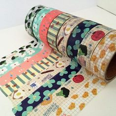 Washi tape selection includes 8 vibrant designs, offering a great selection for everyone. This beautiful collection comprises of variety of vegetable and summer breakfast themed designs, including food, flowers and raindrops. This set will certainly leav