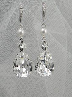 Swarovski crystal and Pearl  Bridal Earrings by CrystalAvenues, $34.00