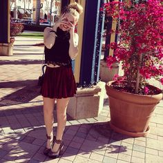 Black crochet crop top paired with the Emma & Sam burgundy velvet skirt with Jevan grey suede pumps