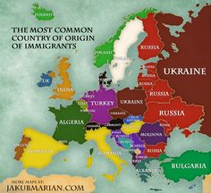 Immigration in Europe: Map of the percentage and country of origin of immigrants Geography Map, World Geography, European History, World History, Old Maps, Historical Maps, Country Of Origin, Planer, Fun Facts