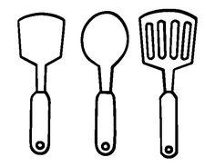 Dibujo de Espátulas de cocina para Colorear Mandil de cocina Cocinar dibujo Forros para libros