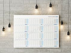 Year Planner  Template  Blue  Yearly Planners