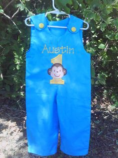 Personalized Turquoise Blue Mod Monkey Boy by ashlyngracedesign,