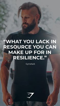 """""""What you lack in resource you can make up for in resilience.""""- Gymshark. Save this to your motivational board for a reminder! #Gymshark #Quotes #Motivational #Inspiration #Motivate #Phrases #Inspire #Fitness #FitnessQuotes #MotivationalQuotes #Positivity #Routine #HealthyMindset #Productive #Dreams #Planning #LifeGoals Motivational Board, Inspirational Quotes, Sport Inspiration, Gym, Workout Wear, Good Vibes, Life Goals, Motivationalquotes, Quote Of The Day"""