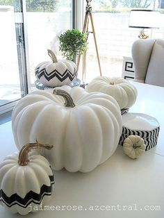Missoni-inspired pumpkins!  She used paper, I think paint would be much easier.