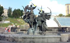 The legendary founders of Kyiv in Independence Square.