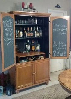 An old armoire turned into a bar! Did this project as a gift for my husband. An old armoire t Diy Home Bar, Diy Bar, Bars For Home, Armoire Makeover, Furniture Makeover, Furniture Ideas, Cheap Furniture, Armoire Redo, Furniture Design