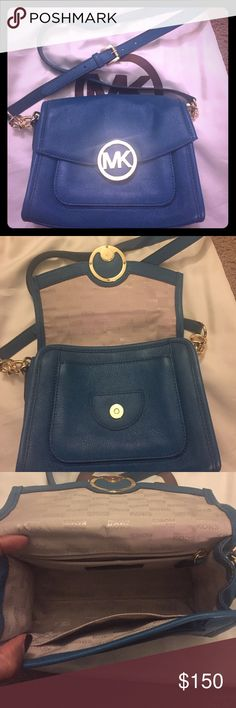 Michael Kors Cross Body bag- Teal Never used Michael Kors crossbody bag. Excellent condition. Comes with dust bag. Vibrant real color with gold chain accents connecting the strap to the bag. Leather with gold hardware, interior is pristine. Michael Kors Bags Crossbody Bags