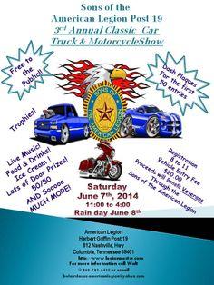 American Legion Post 19 Classic Car/Truck & Motorcycle show  6/7/2014 | Columbia, TN