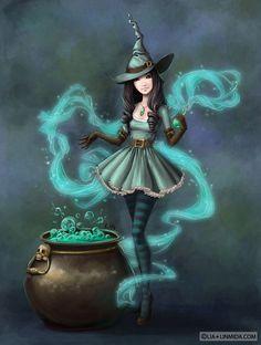 Witch Amanda by ~LiaSelina on deviantART ~ Halloween Fantasy Witch, Witch Art, Fantasy Art, Image Halloween, Fete Halloween, Happy Halloween, Witch Pictures, Halloween Pictures, Chibi Kawaii
