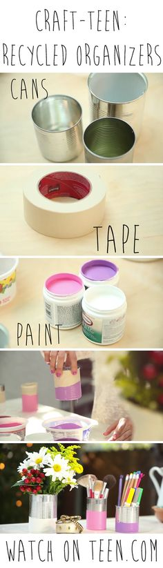 Super cute, super easy,  super cheap! Check out these fun DIY hand dipped cans to use for potted plants, desk organizers, or makeup brushes!