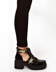 River Island Fire Black Cut Out Gold Buckled Boots