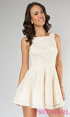 Short Lace Party Dress, City Triangles Sleeveless Dress- PromGirl