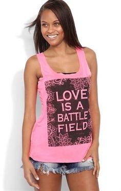 Deb Shops #Neon Racerback Tank Top with #Love Is A Battlefield Screen $16