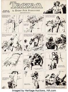 Original Comic Art:Comic Strip Art, Hal Foster Tarzan Sunday Comic Strip Original Art dated8-14-32 (United Feature Syndicate, 1932)....
