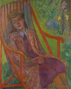 """MOLLIE FAUSTMAN. """"Flicka i röd stol"""", olja på duk, osignerad."""