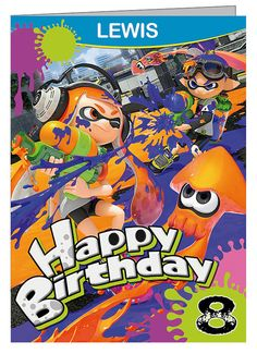 Splatoon Personalised Birthday Card (A5)