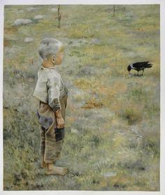 Akseli Gallen-Kallela Boy With a Crow - 1884 (Ateneum Art Museum, Helsinki, Finland) Oil on canvas. Crow Painting, Figure Painting, Google Art Project, Scandinavian Art, Expositions, Art Database, Oil Painting Reproductions, Art Google, Art Museum