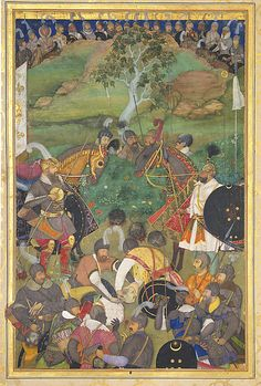 """A relatively new addition to the Met, excellent colour. 'Abid. """"The Death of Khan Jahan Lodi"""" from the Windsor Padshahnama. India, ca. 1633. MET SL.17.2011.13.2."""
