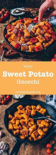 Potato Gnocchi (vegan, easy - Ellise M. - Sweet Potato Gnocchi (vegan, easy – -Sweet Potato Gnocchi (vegan, easy - Ellise M. Vegan Dinner Recipes, Paleo Dinner, Vegan Dinners, Vegan Recipes Easy, Vegetarian Recipes, Free Recipes, Vegan Vegetarian, Gnocchi Vegan, Gnocchi Recipes