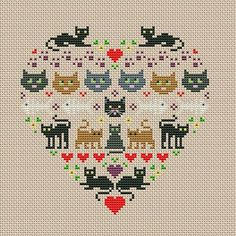 Thrilling Designing Your Own Cross Stitch Embroidery Patterns Ideas. Exhilarating Designing Your Own Cross Stitch Embroidery Patterns Ideas. Tiny Cross Stitch, Cat Cross Stitches, Cross Stitch Heart, Cross Stitch Borders, Simple Cross Stitch, Cross Stitch Animals, Modern Cross Stitch, Cross Stitch Designs, Cross Stitching