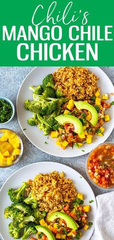 This Mango Chile Chicken is a perfect Chili's copycat. It's loaded with chile spices, mango glaze Supper Recipes, Lunch Recipes, Salad Recipes, Vegetarian Recipes, Healthy Recipes, Sweets Recipes, Delicious Recipes, Santa Fe Chicken Salad, Chicken Chili