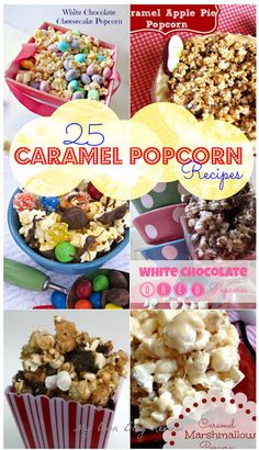 Did you know Sunday (April is National Caramel Popcorn Day? I love caramel popcorn, remember that one time I ate the Caramel Marshmallow Popcorn by myself? To… View Post Popcorn Snacks, Flavored Popcorn, Gourmet Popcorn, Popcorn Recipes, Snack Recipes, Pop Popcorn, Candy Popcorn, Popcorn Flavours, Popcorn Toppings