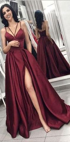 Maroon Spaghetti Straps Side Slit Long Evening Prom Dresses, Cheap Custom Sweet 16 Dresses Evening Dresses Cheap Custom Made Prom Dresses Prom Dress Evening Dresses Long Maroon Evening Dresses Prom Dresses 2019 Maroon Prom Dress, Split Prom Dresses, Prom Dresses With Pockets, Straps Prom Dresses, V Neck Prom Dresses, Cheap Prom Dresses, Satin Dresses, Sexy Dresses, Long Dresses