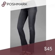 """7 For All Mankind - """"A"""" Pocket Flare Jeans in Gray Classic """"A"""" Pocket flares from 7 For All Mankind. Dark gray wash with black """"A"""" ditching. Colors are most accurate in photo #4. Excellent condition! Approximately 8"""" rise and 32"""" inseam. Size 27. 7 For All Mankind Jeans Flare & Wide Leg"""