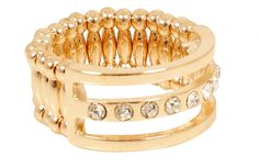 Yours Clothing Gold Diamanté Stretch Ring
