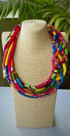 African Jewellery Ankara Necklace Ethnic by AfrogenicCollections Diy African Jewelry, African Accessories, African Necklace, Indian Jewelry, Rope Jewelry, Tribal Jewelry, Choker Jewelry, Jewelry Sets, Diamond Jewelry