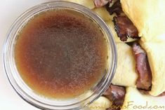 The BEST Au Jus and NO DRIPPINGS needed! Au Jus is such a delicious addition to the perfect French Dip Sandwich, you're going to love our Au Jus recipe! I Love Food, Good Food, Yummy Food, Easy Au Jus Recipe, French Dip Au Jus, Beef Recipes, Cooking Recipes, Grilled Recipes, Restaurants
