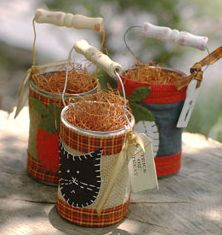 Aren't these darling? I love that these are made from recycled vegetable cans and use fairly simple supplies. So cute and perfect for the fall season.