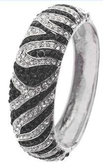 Rhinestone Embedded Zebra Print, Hinge Closure Bracelet. Silver or BRONZE