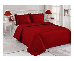 Couvre-lit et 2 housses d'oreiller ZANDI coton et taffetas, rouge - 250*260
