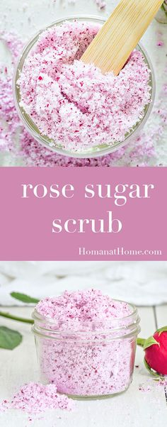 Rose sugar scrub make an excellent gift. With only three ingredients and 5 minutes of prep work, it's a gorgeous way to make someone feel pampered!
