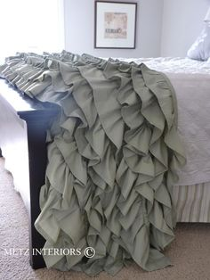 Gorgeous ruffled throw blanket, made from sheets. If made large enough, could be a cool summer blanket.