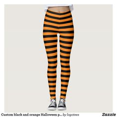 Custom black and orange Halloween party leggings