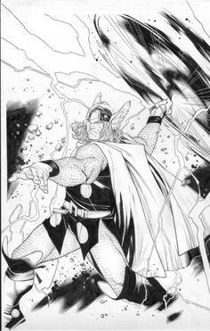 Thor #1 Splash (Pen & Ink) cover by Artists: OliverCoipel (Penciller), MarkMorales (Inker)