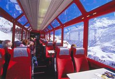 Glacier Express, one of the best train rides in the world, huge windows to take in the most breath taking views in Switzerland.