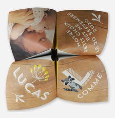 La chaleur du bois, la douceur de jolies illustrations et la magie des premières photos de votre bébé font de ce faire part naissance créatif un véritable cadeau pour tous vos proches. Sous forme d'origami, vos amis et votre famille s'amuseront à l'effeuiller pour découvrir tour à tour la taille et le poids de votre enfant, son prénom, sa date de naissance, et votre propre texte faire part naissance. Ses couleurs et ses beaux motifs en font un faire part idéal pour les bébés nés e...
