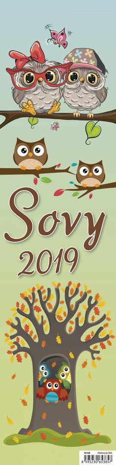 Nástěnný kalendář - vázanka Sovy 2019