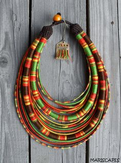 "OOAK ""Queen of Autumn"" - yarn-wrapped necklace / tribal / hippie / bohemian / ethnic / thread / rope"