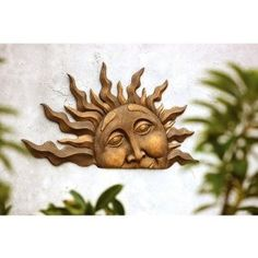 Found it at Wayfair - Half Sun Wall Plaque Sun Wall Decor, Metal Wall Decor, Moon Decor, Wall Sculptures, Lion Sculpture, Sun Art, Sun And Stars, Outdoor Walls, Outdoor Spaces